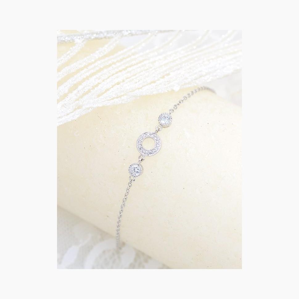 bracelet mariage argenté halo