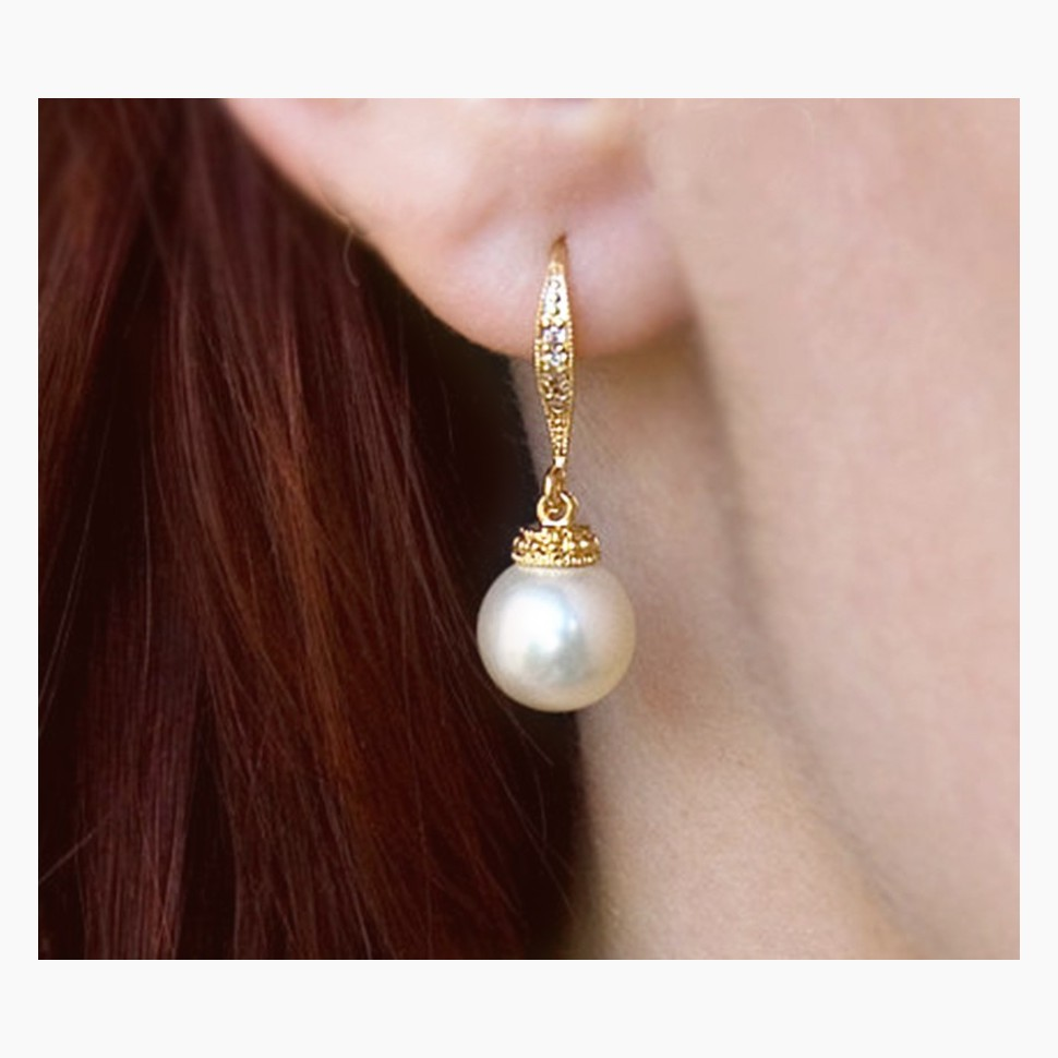 Boucles d'oreilles mariée perle doré