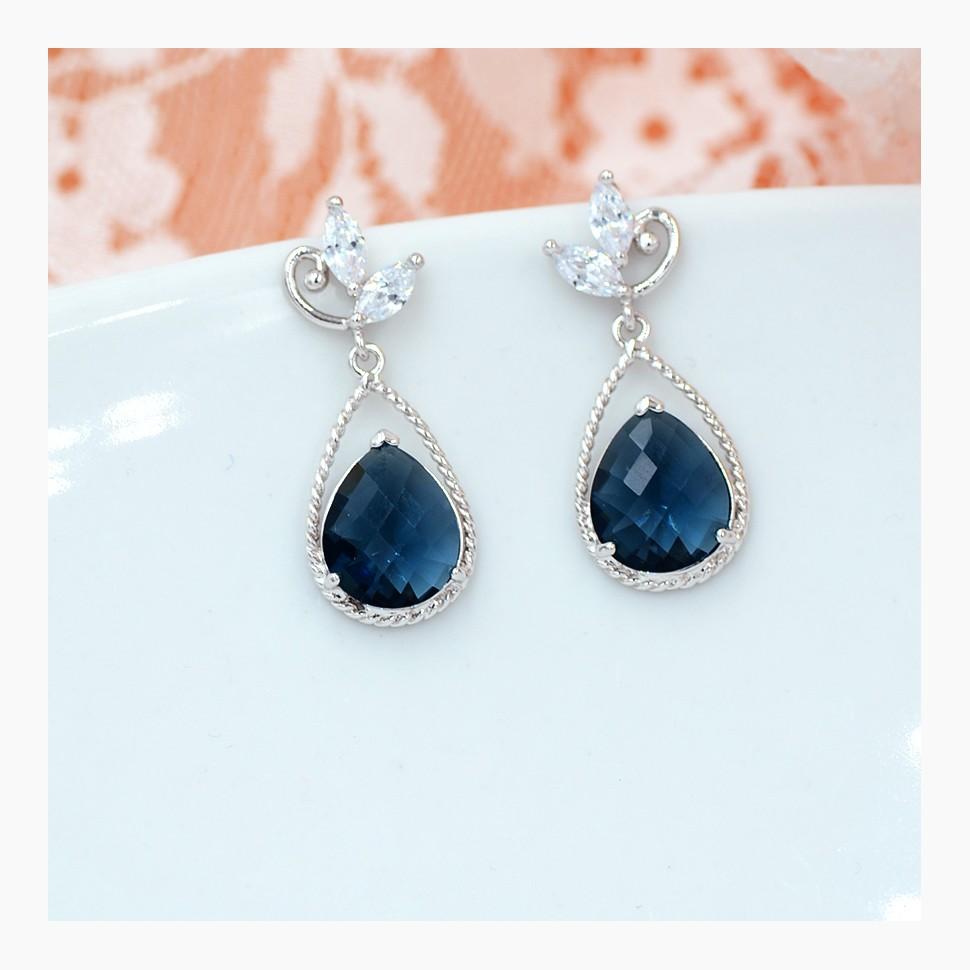 Boucles d'oreilles mariage bleu