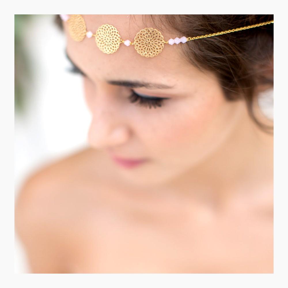 Headband mari e manolie headband dor mariage bijoux de t te dor - Headband mariage boheme ...