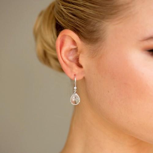 Boucles d'oreilles mariée argentées
