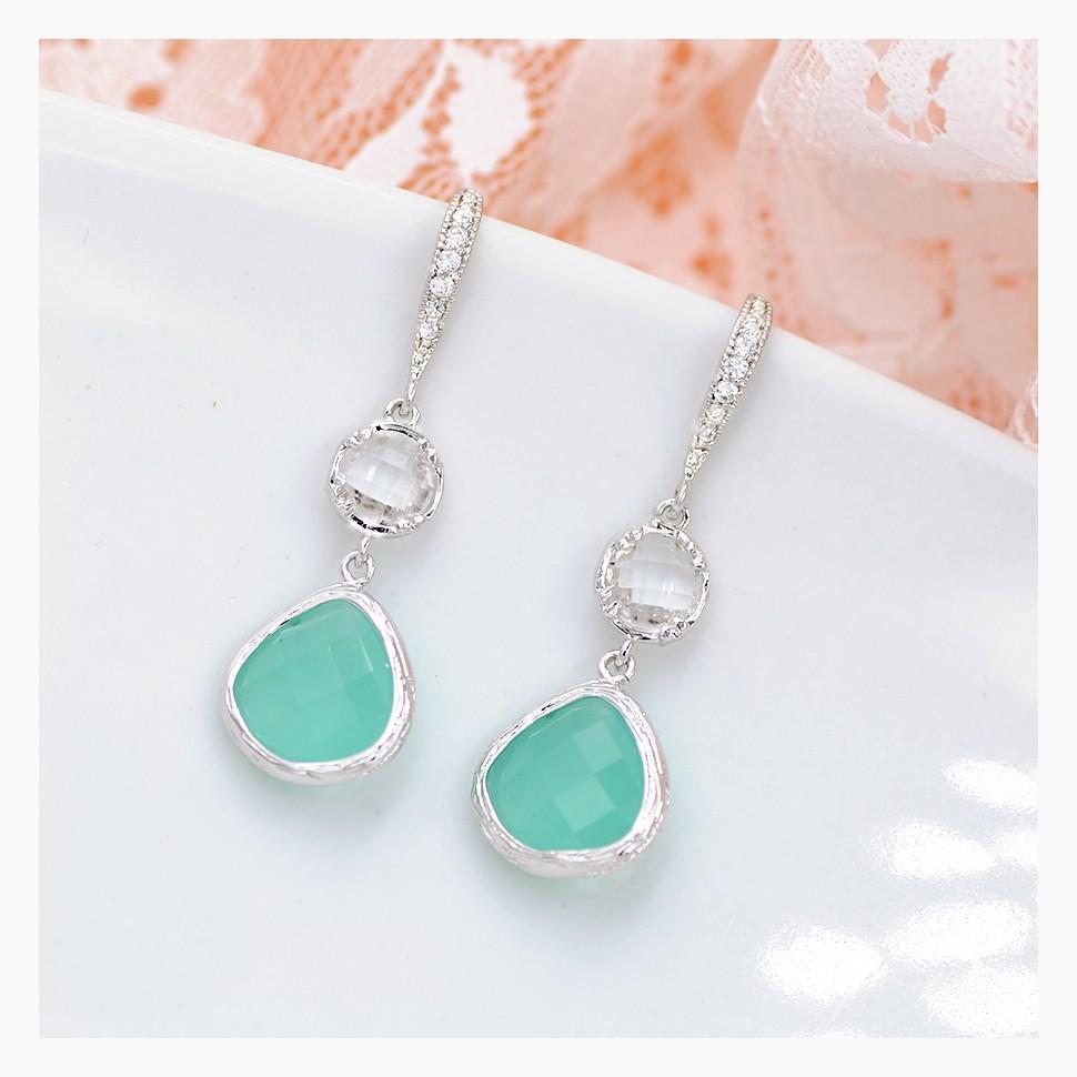 Boucles d'oreilles mariage bleu turquoise