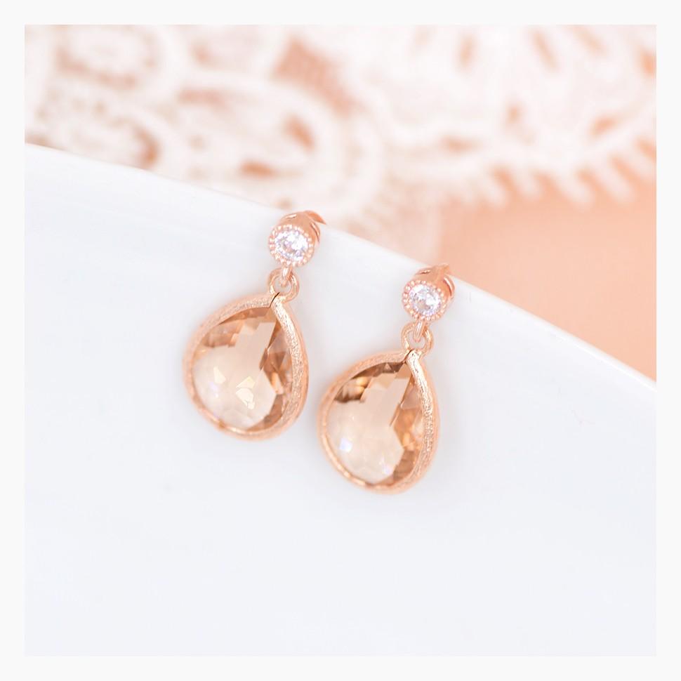 Boucles d'oreilles mariée Rose Gold Anais