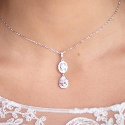 Collier de mariée strass argenté