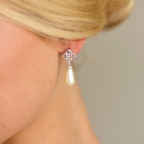 Boucles d'oreilles mariée goutte