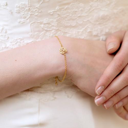 Bracelet mariage fleur dorée