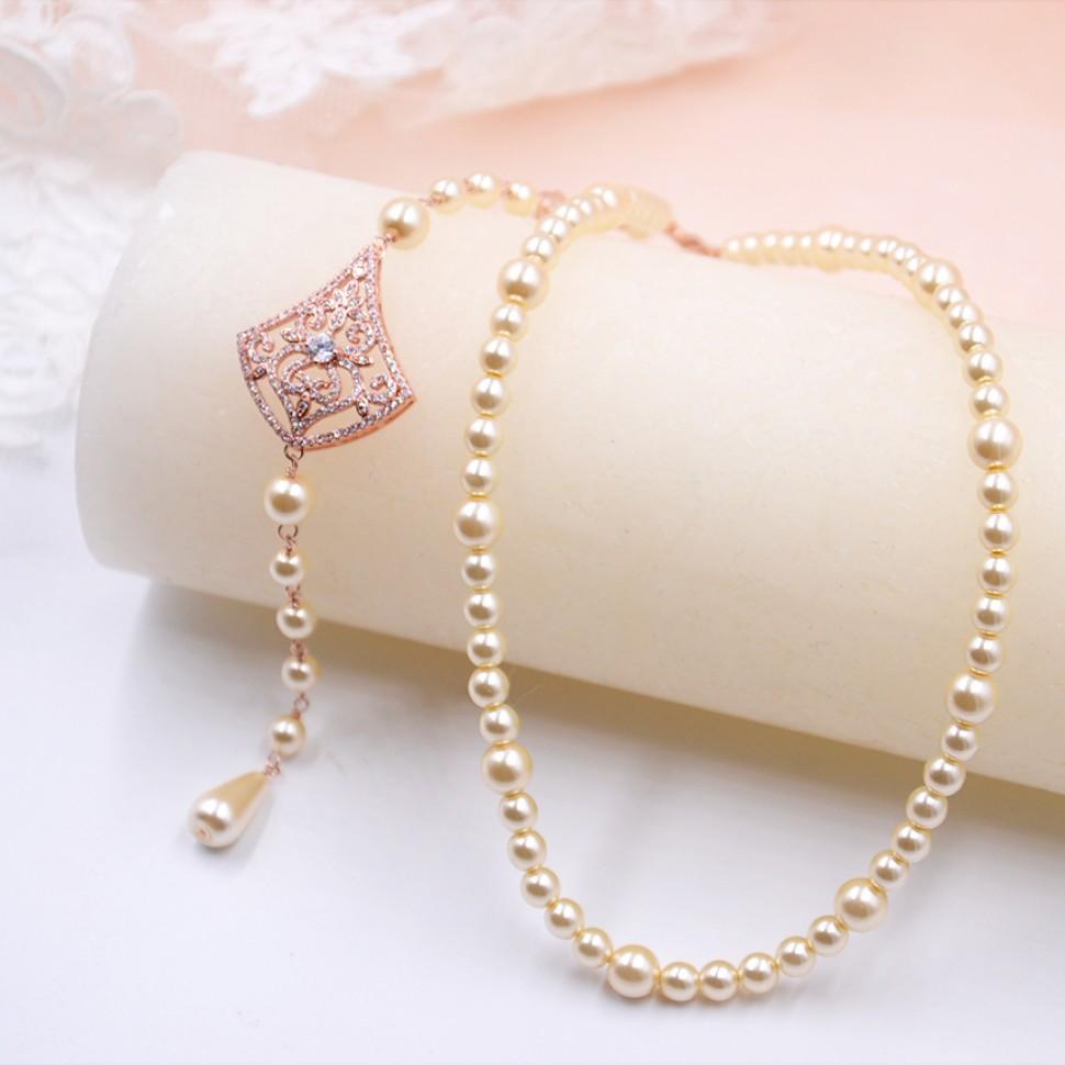 Collier de mariée perle et strass Mathilde