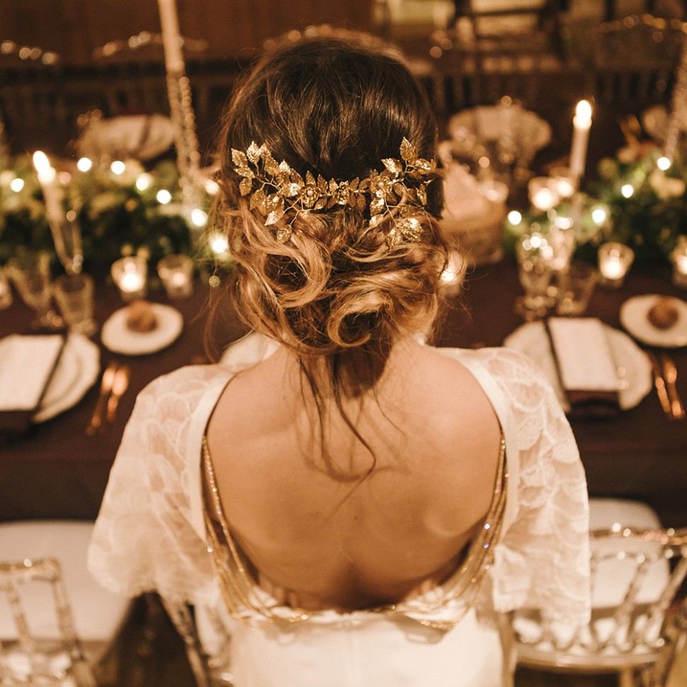Peigne Mariée feuilles dorées