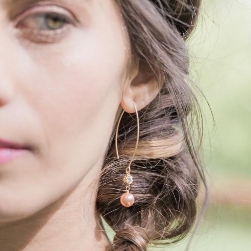 Boucles d'oreilles perles mariée Lola