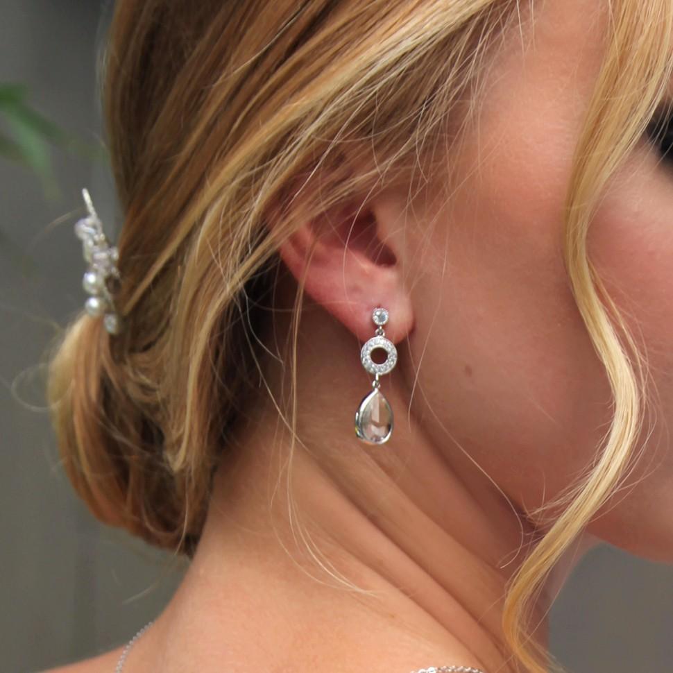 Boucles d'oreilles mariée argentées goutte