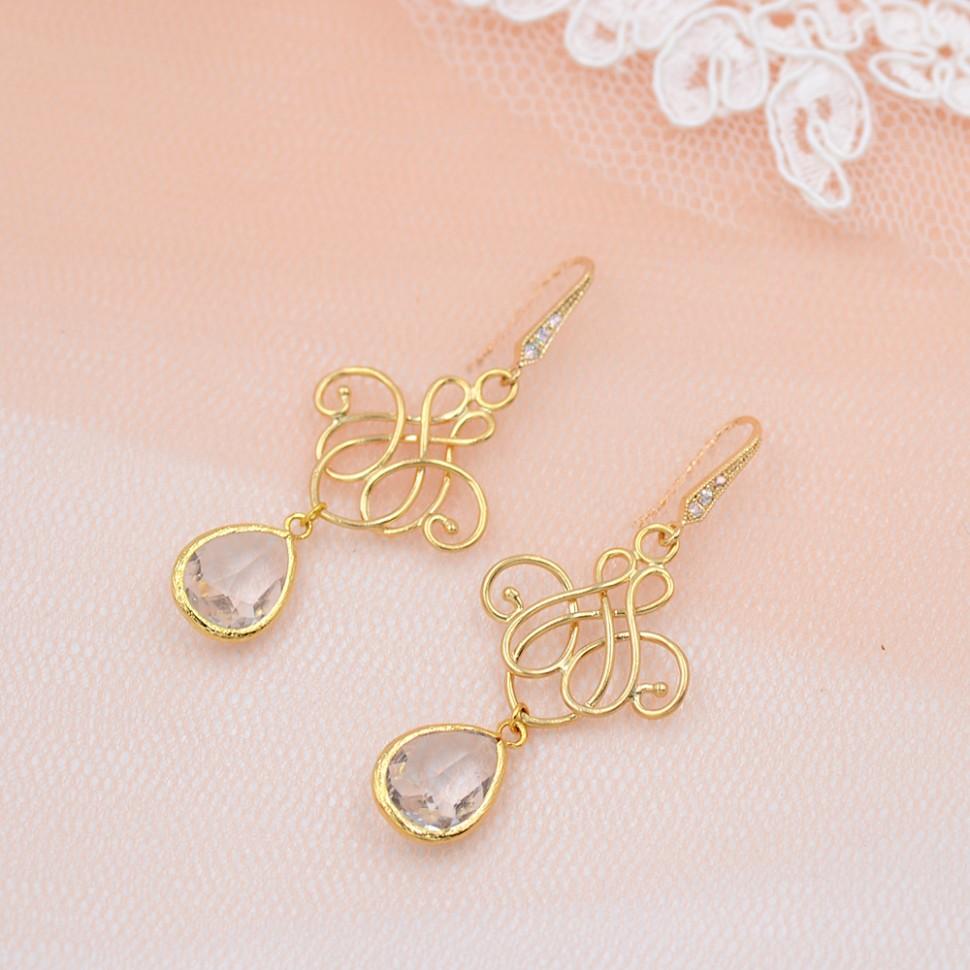 Boucles d'oreilles de mariée doré
