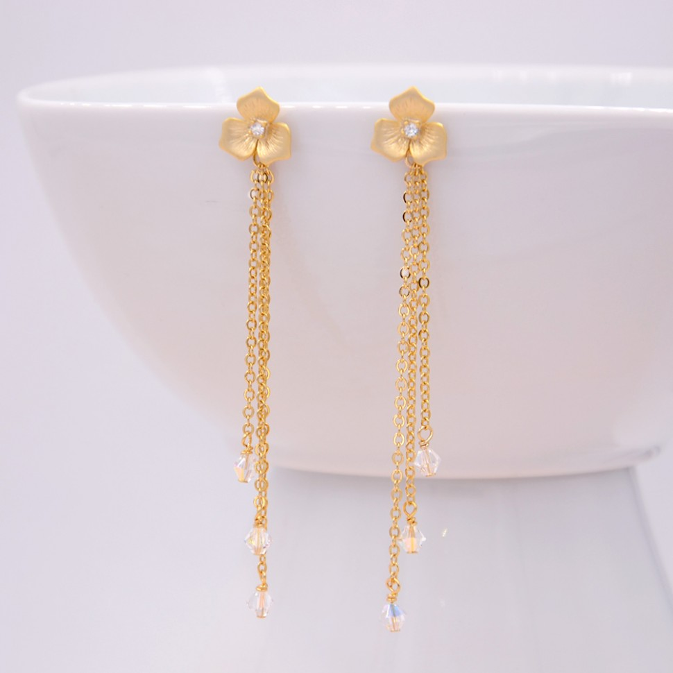 Boucles d'oreilles dorée longues