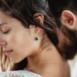 Boucles d'oreilles mariée vertes