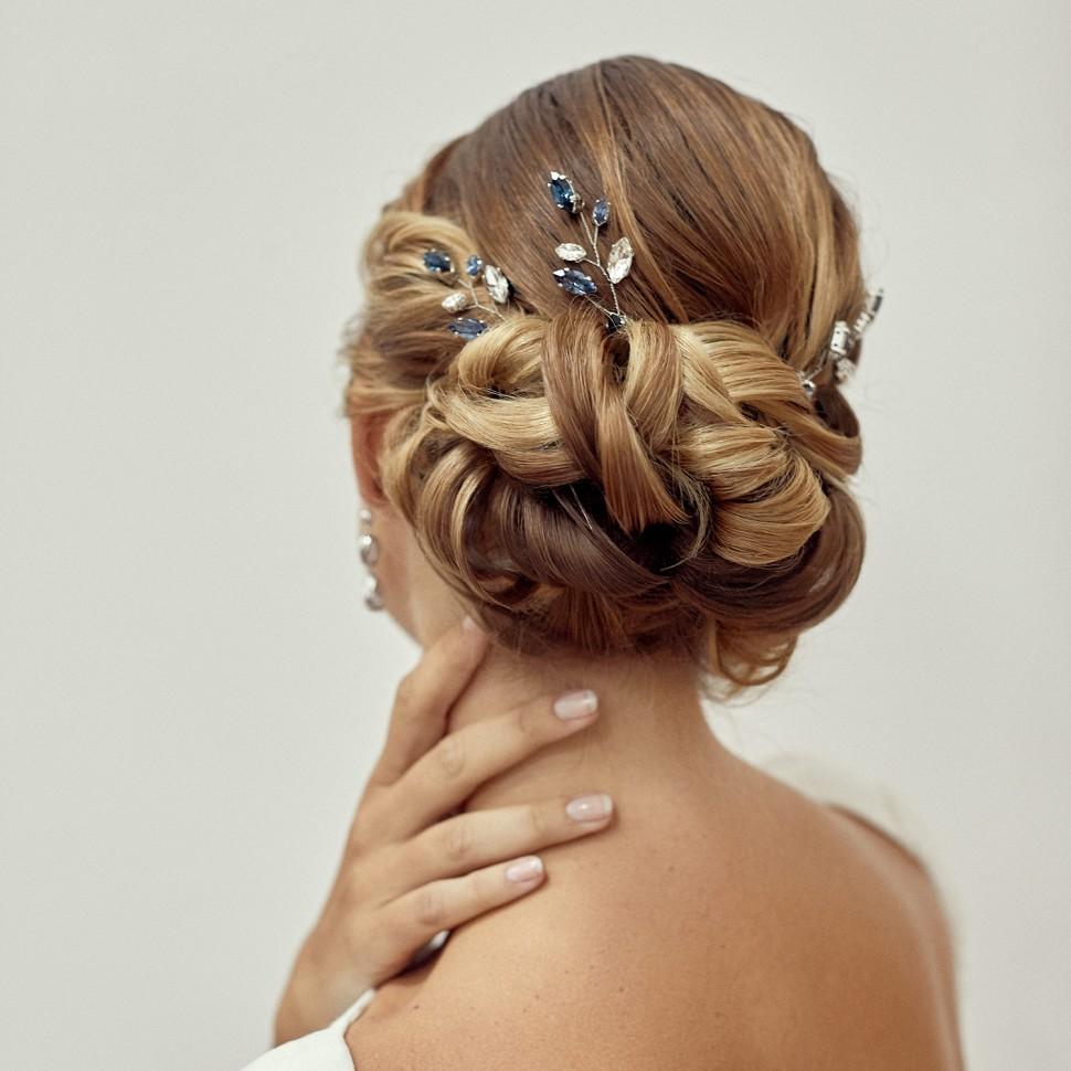 Pics à Cheveux cristal BLEU