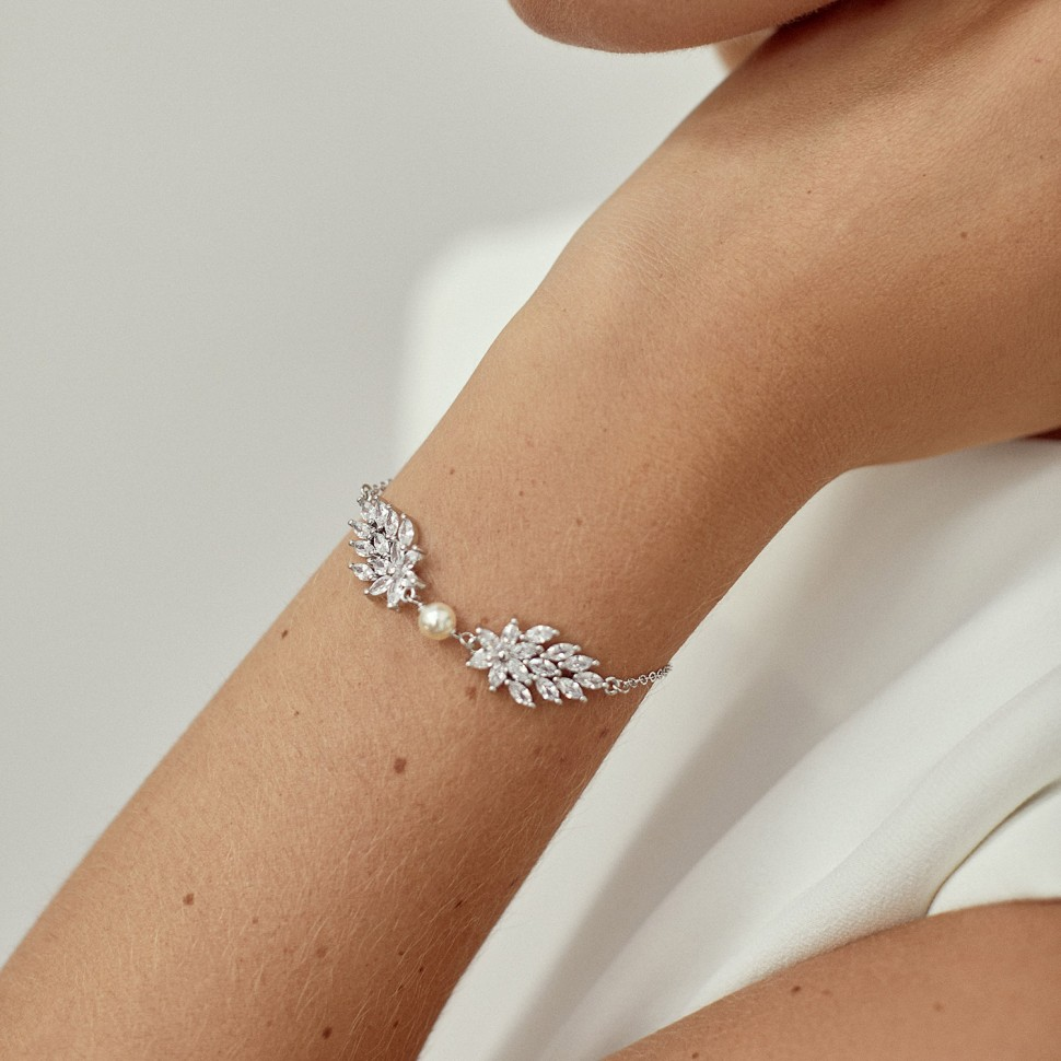 Bracelet mariée argenté ivoire