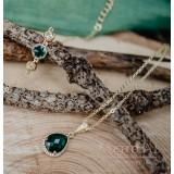 Collier mariage doré et vert