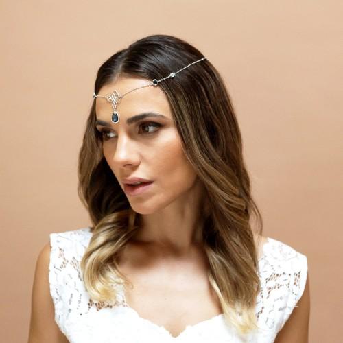 Headband mariage nila bleu