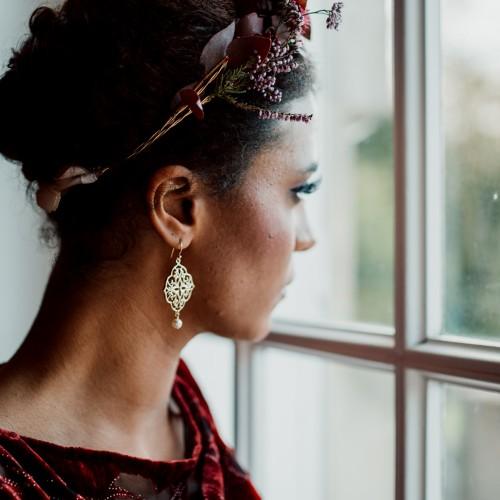 Boucles d'oreilles mariée perle Eliott