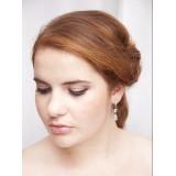 Boucles d'oreilles mariée pendante argentées et cristal