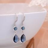 Boucles d'oreilles mariée pendantes bleu