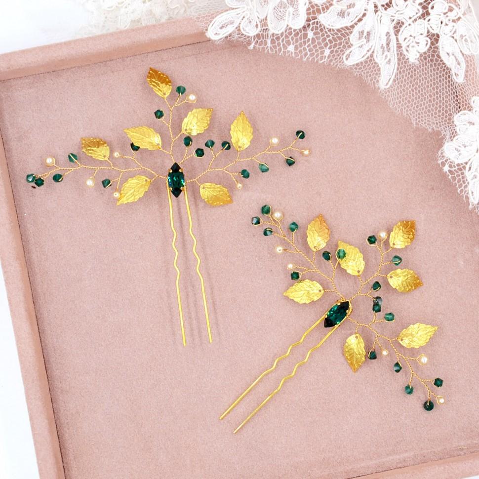 Pics à Chignon mariée doré vert émeraude