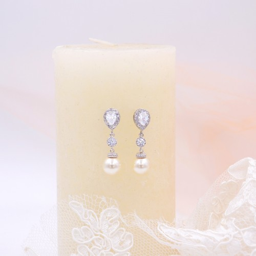 Boucles d'oreilles perle ivoire mariée strass