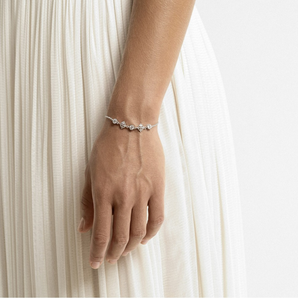 Bracelet mariée cristal argenté