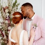 Peigne mariage argenté bleu