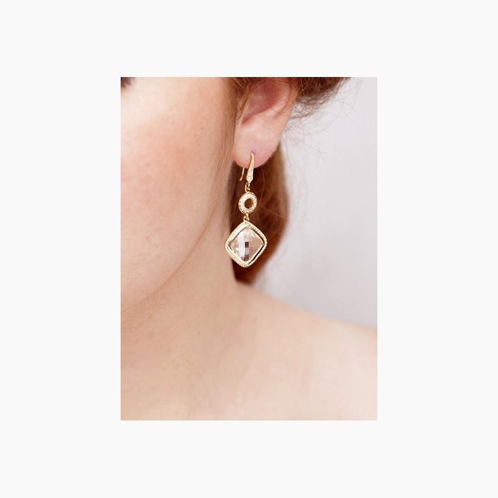 Boucles d'oreilles mariée pendantes dorées